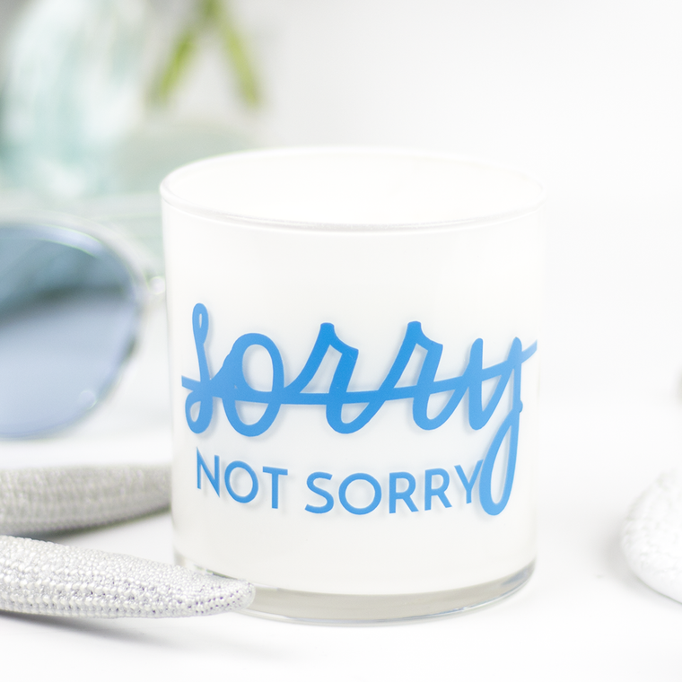 Sorry - Not Sorry Quote Jar in Birch & Black Pepper Scent