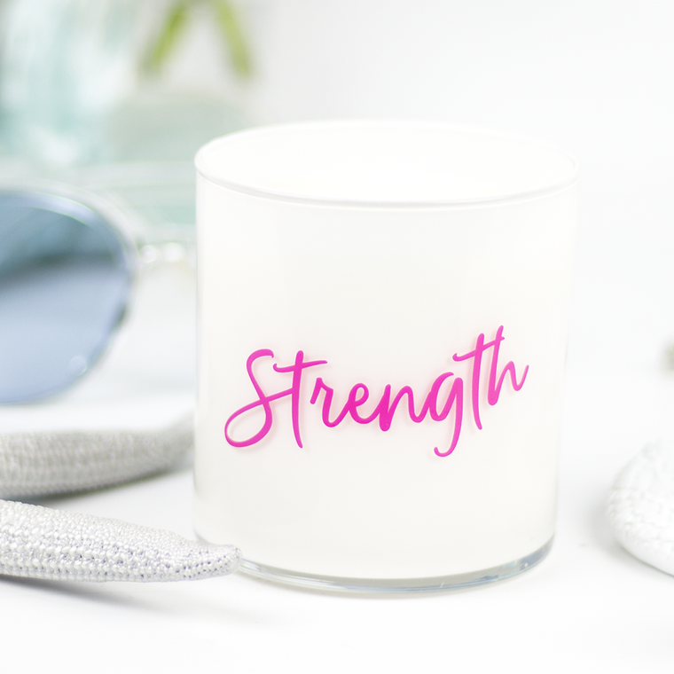 Strength Quote Jar in Mahogany & Coconut Scent