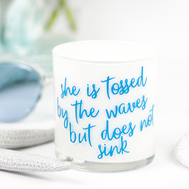 She Is Tossed Quote Jar in Cedar & Saffron Scent