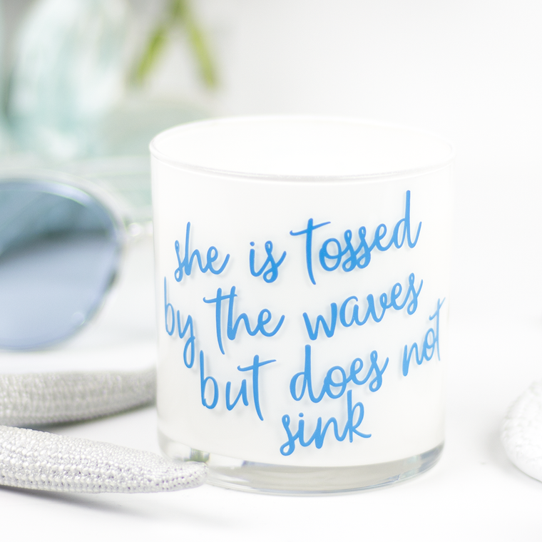 She Is Tossed Quote Jar in Mermaid's Kiss Scent