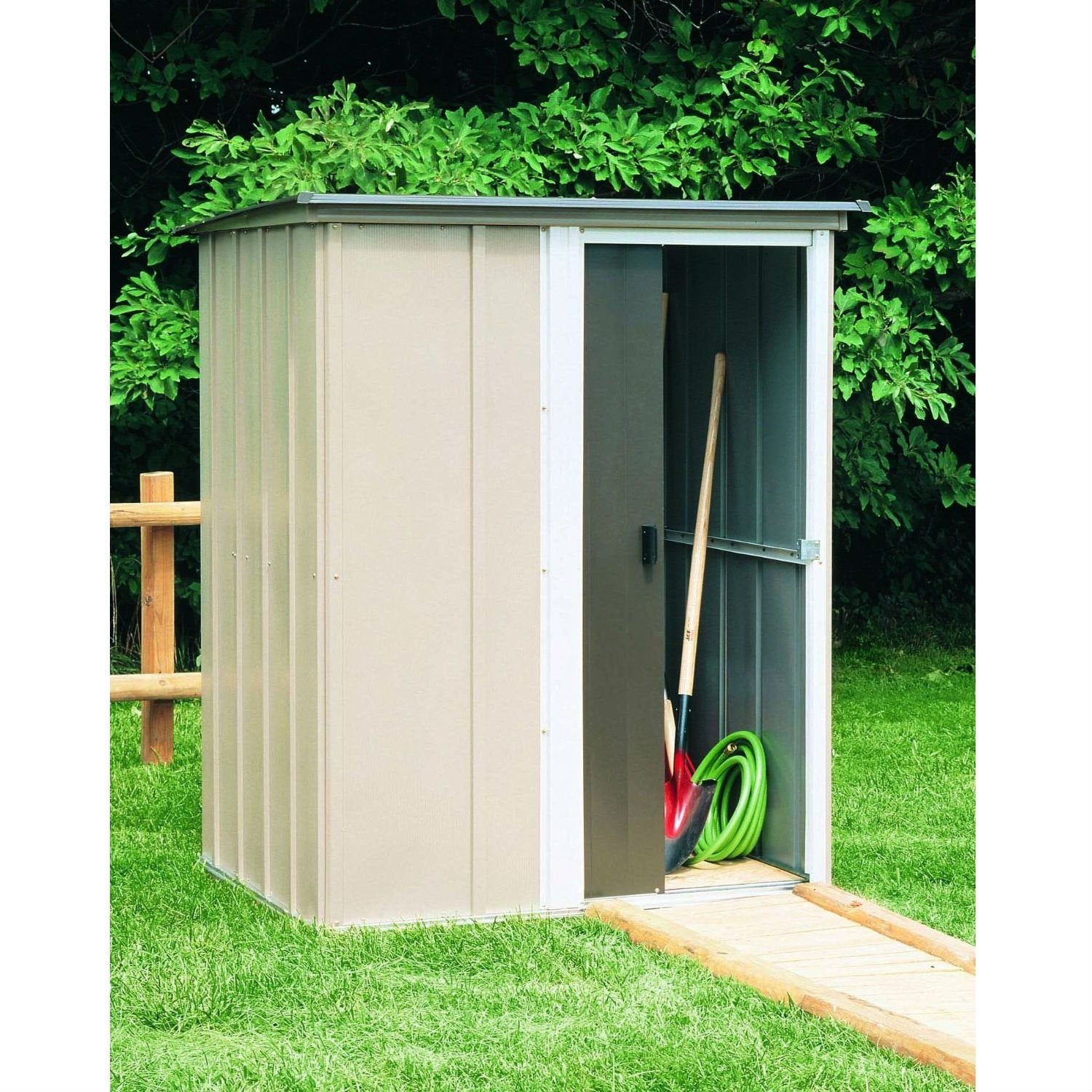 Garden Sheds 2 5 X 1 5 outdoor lawn garden tool storage shed - 4-ft x 5-ft