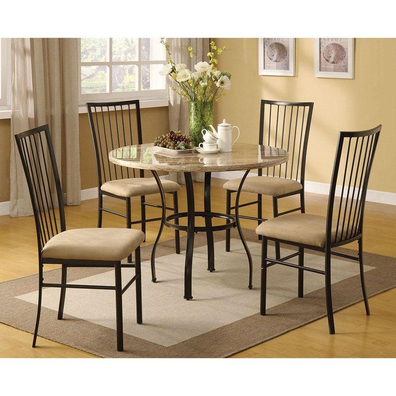 Modern 5 Piece Dining Set In Black With Round Table And 4 Chairs