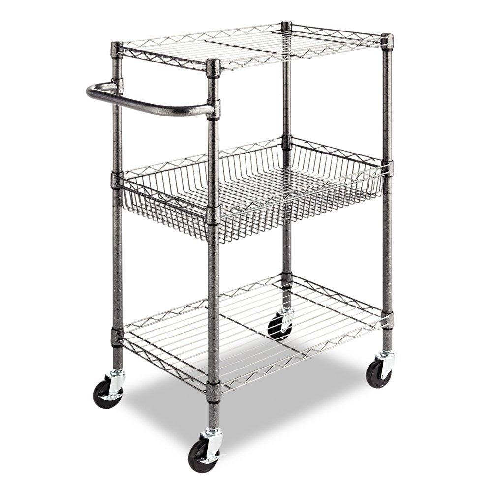 3 Tier Metal Kitchen Cart / Utility Cart With Adjustable Shelves And Casters