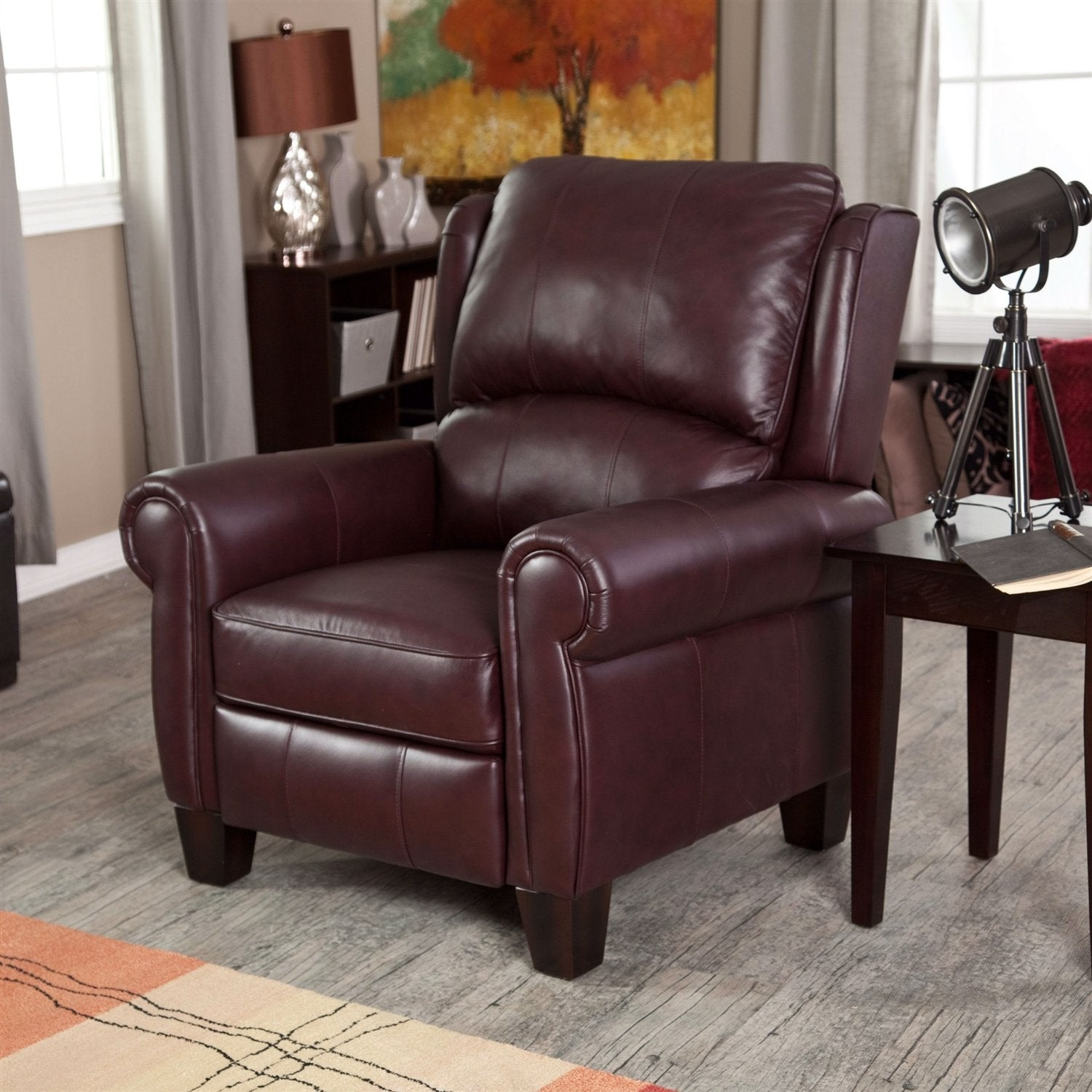 & Burgundy Top-Grain Leather Upholstered Wing-back Club Chair Recliner islam-shia.org