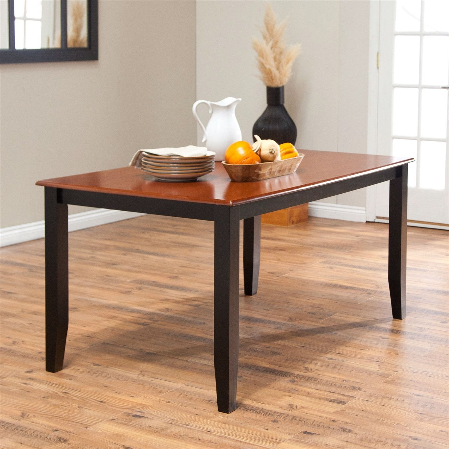 Solid Hardwood Two Tone Cherry Black Dining Table Seats up to 6