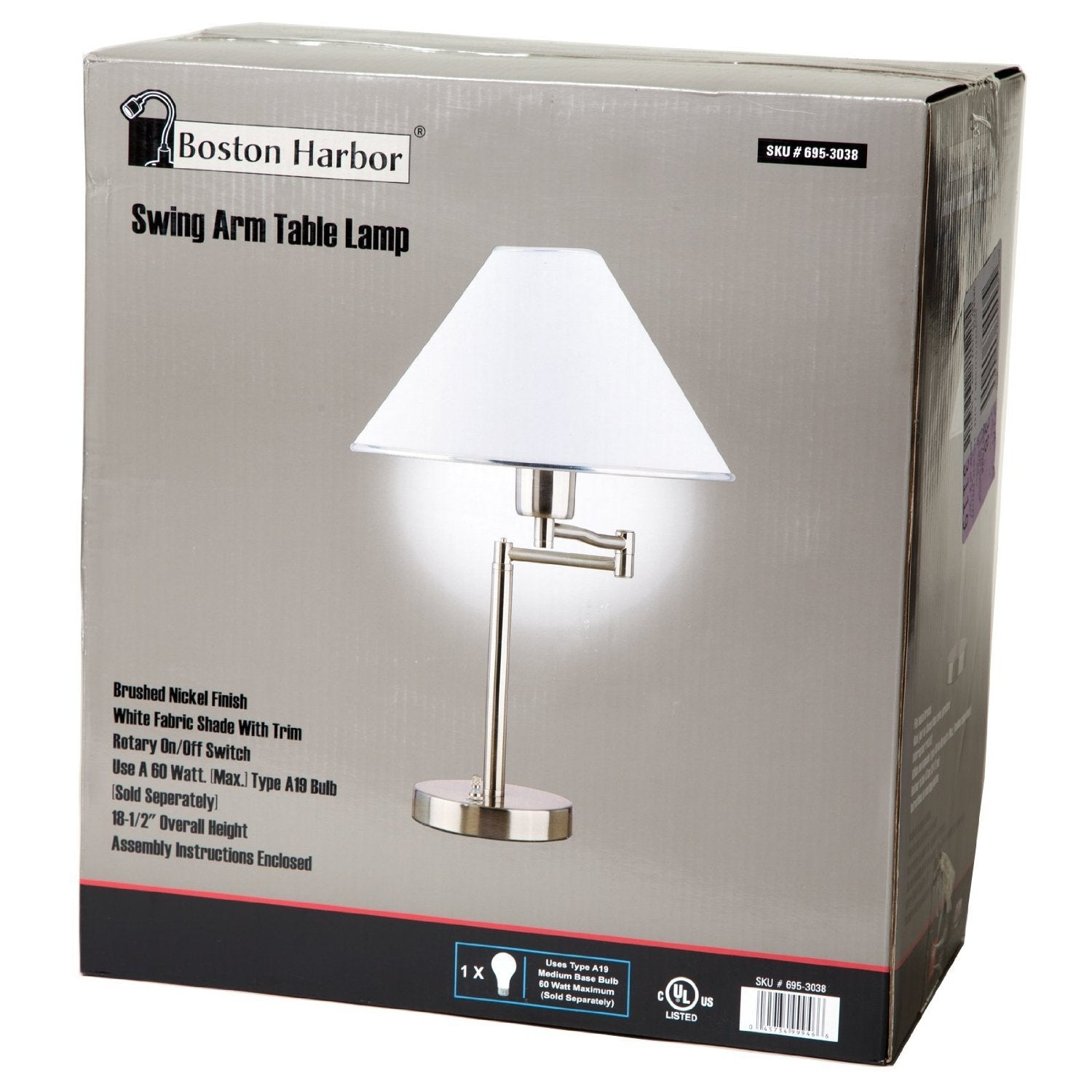 Sing arm table lamp in brushed nickel and white fabric shade geotapseo Gallery