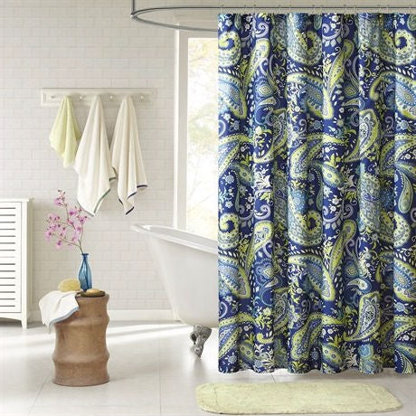 72 X Inch Blue Green Paisley Bathroom Shower Curtain In Polyester