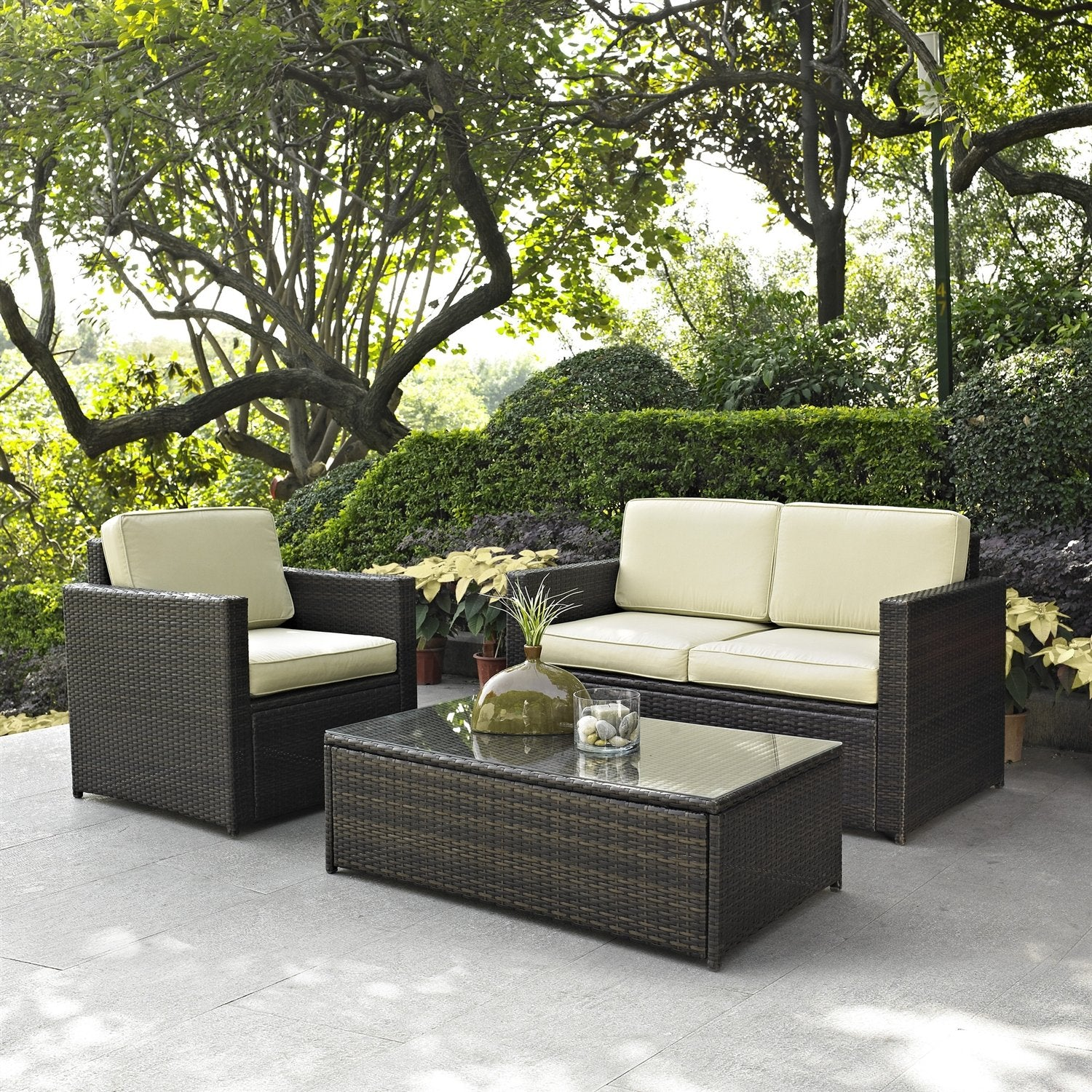 3 Piece Outdoor Patio Furniture Set With Chair Loveseat And Cocktail Table
