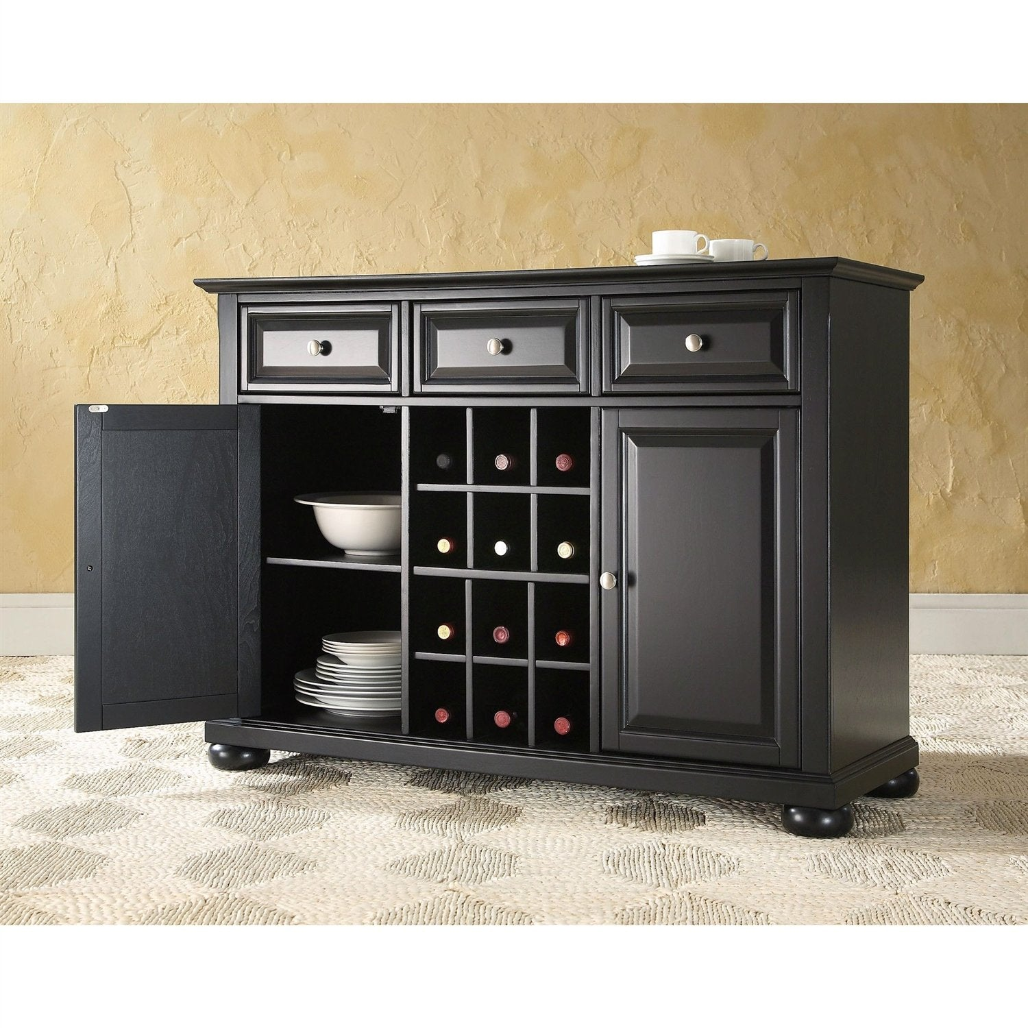 Black Dining Room Buffet Sideboard Cabinet With Wine Storage