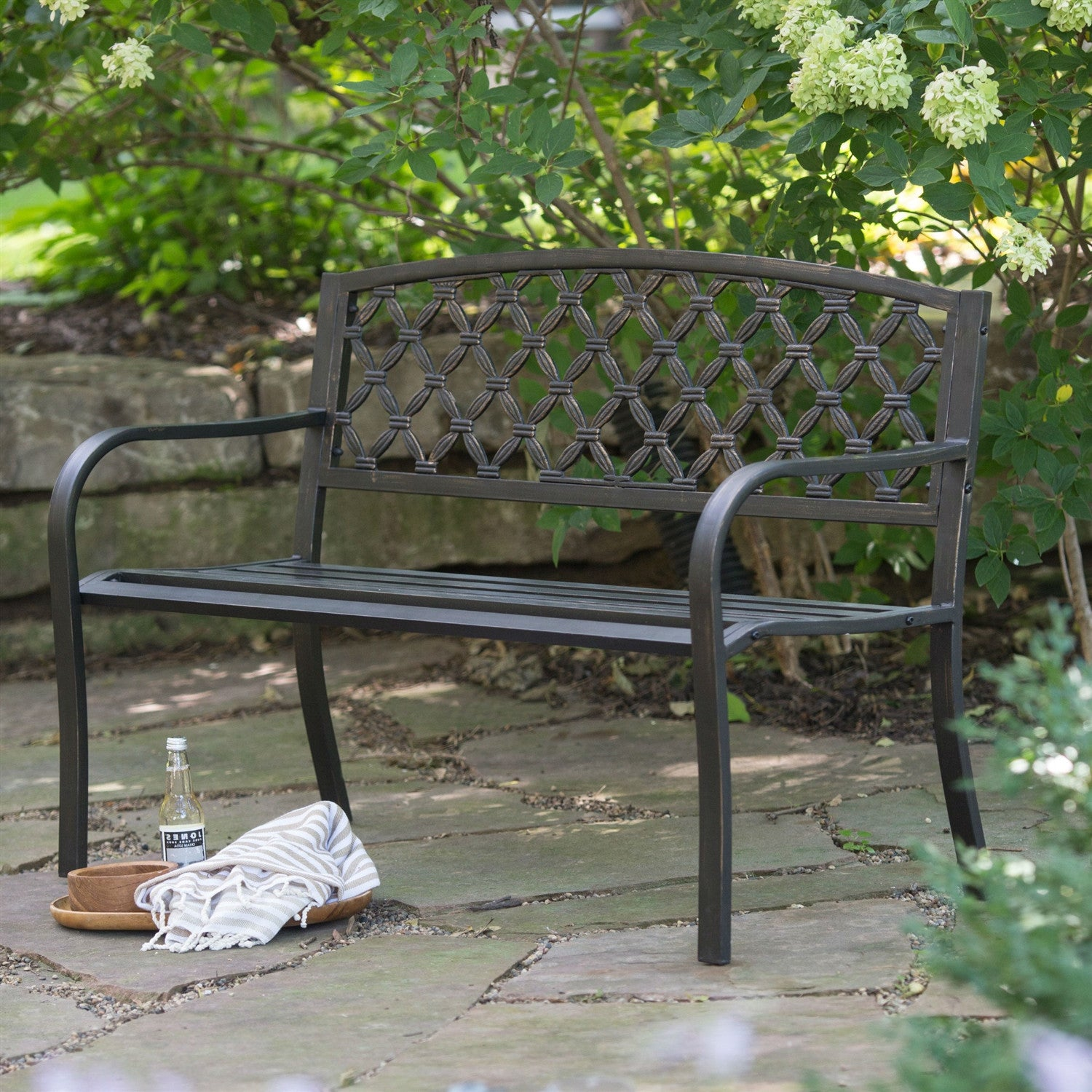 Marvelous 4 Ft Curved Back Metal Garden Bench In Weathered Black With Antique Bronze Highlights Bralicious Painted Fabric Chair Ideas Braliciousco