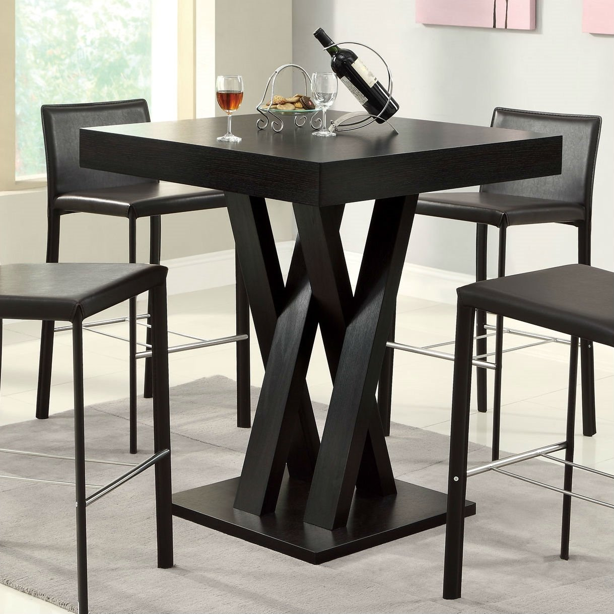 modern  inch high square dining table in dark cappuccino finish: 40 inch round pedestal dining table