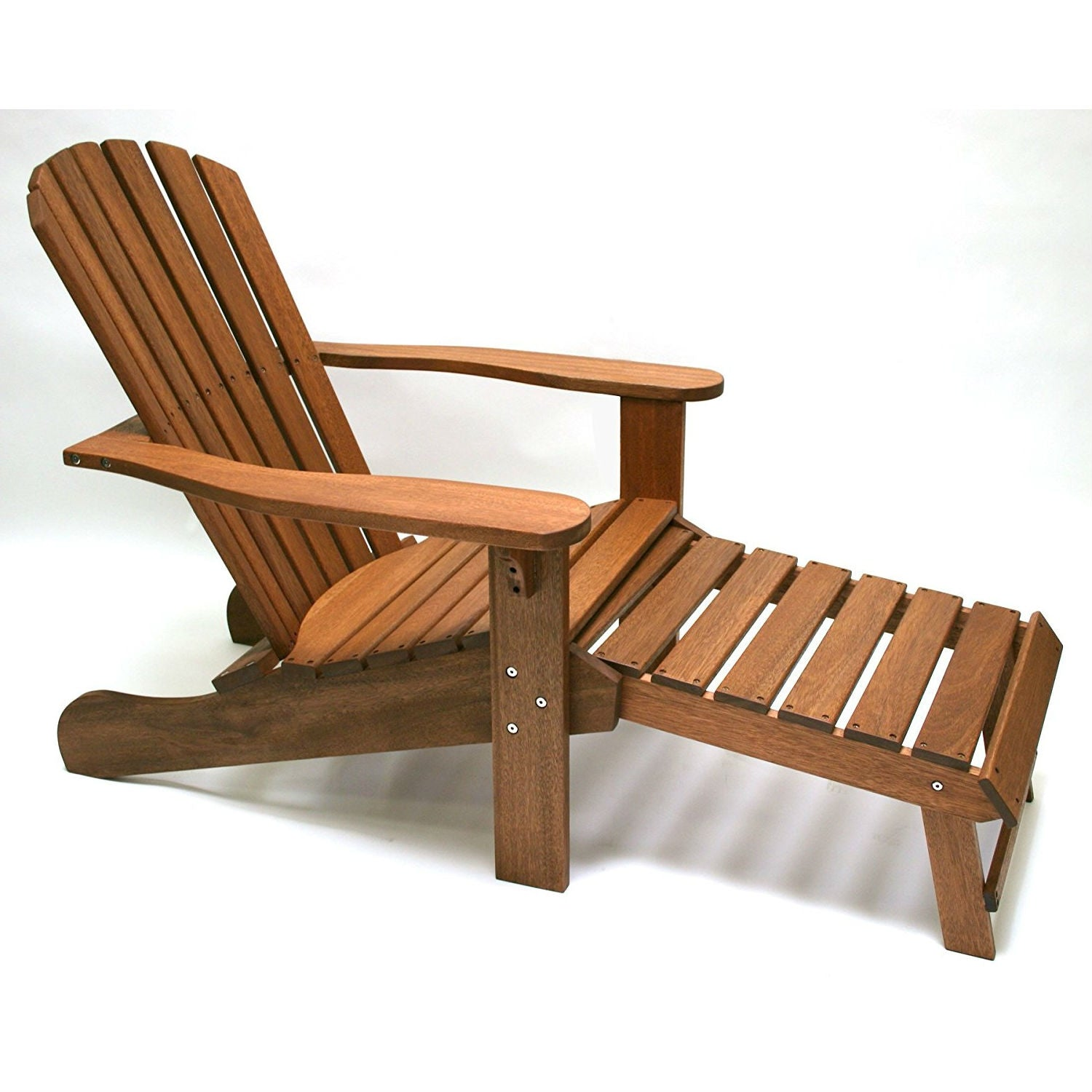 Pleasant Outdoor Eucalyptus Wood Patio Adirondack Chair With Slide Out Ottoman Cjindustries Chair Design For Home Cjindustriesco