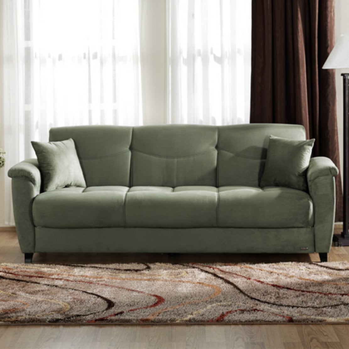 Sage Green Microfiber Couch Sofa Bed Sleeper with Hidden Storage