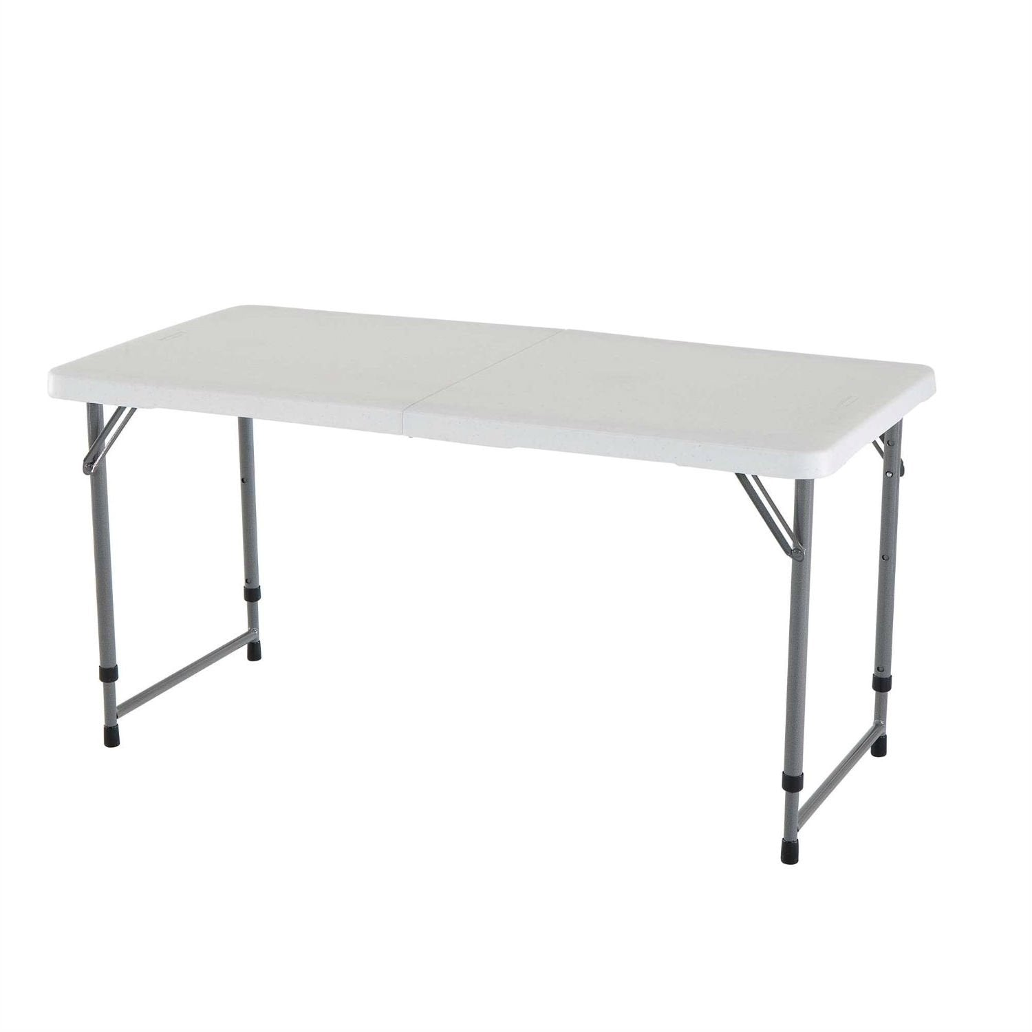 Adjustable Height White Plastic Top Folding Table with Sturdy Steel Me
