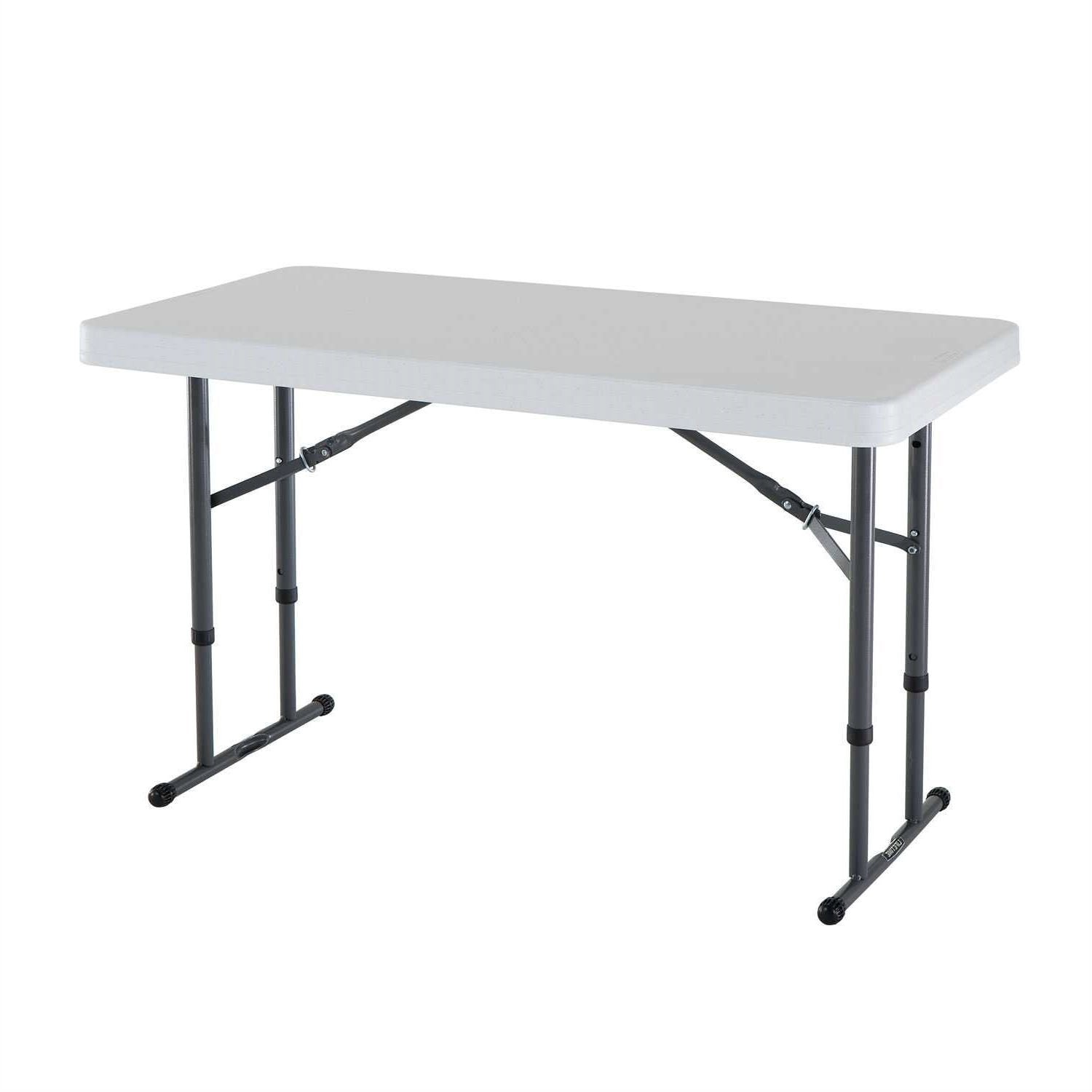 4 foot adjustable height folding table - Adjustable Height 4 Foot Commercial Folding Table With White Hdpe Top