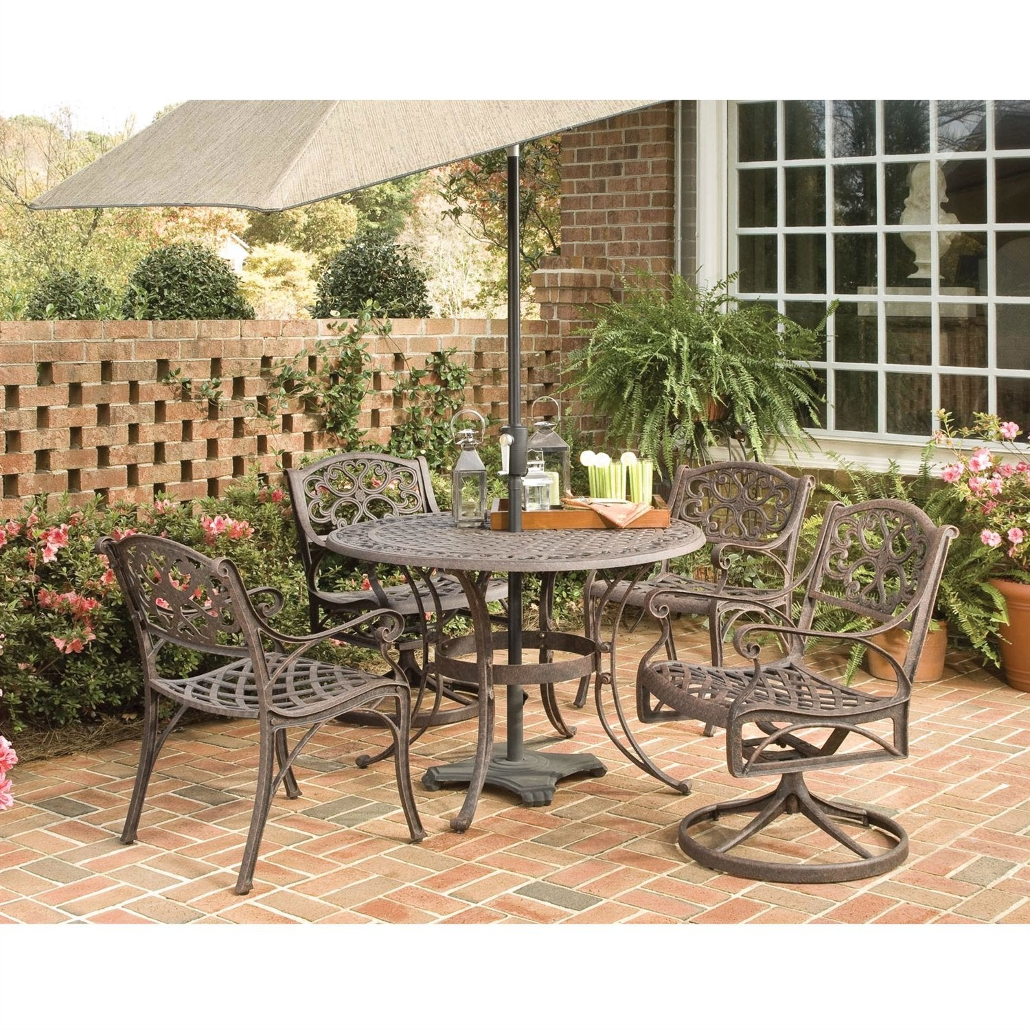 48 Inch Round Outdoor Patio Table In Rust Brown Metal With Umbrella Ho