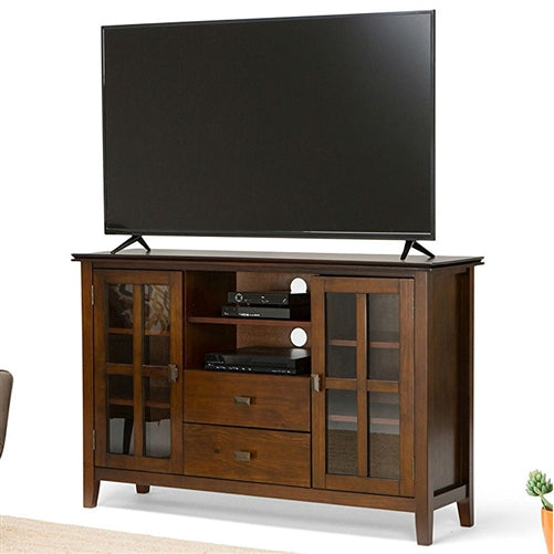 Medium Brown Solid Wood Tall Tv Stand For Tv S Up To 60 Inch