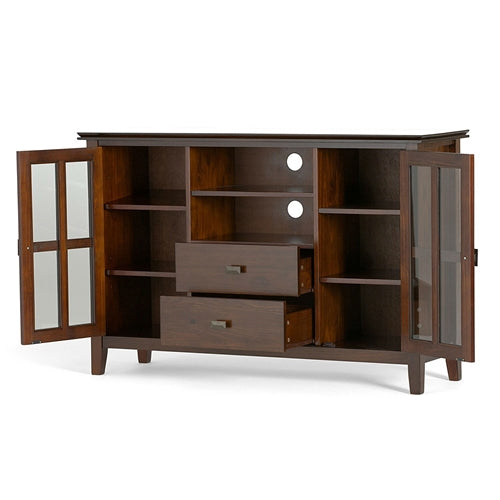 Medium Brown Solid Wood Tall Tv Stand For Tvs Up To 60 Inch