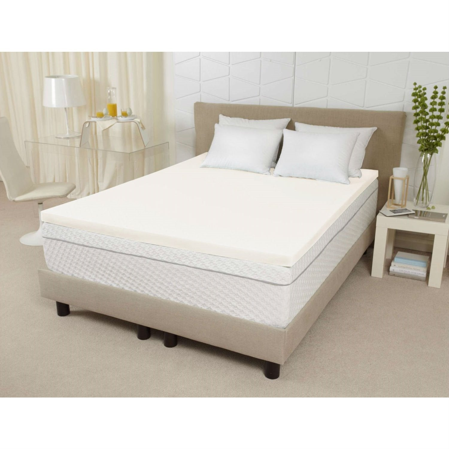 King size 3-inch Thick Ventilated Memory Foam Mattress Topper
