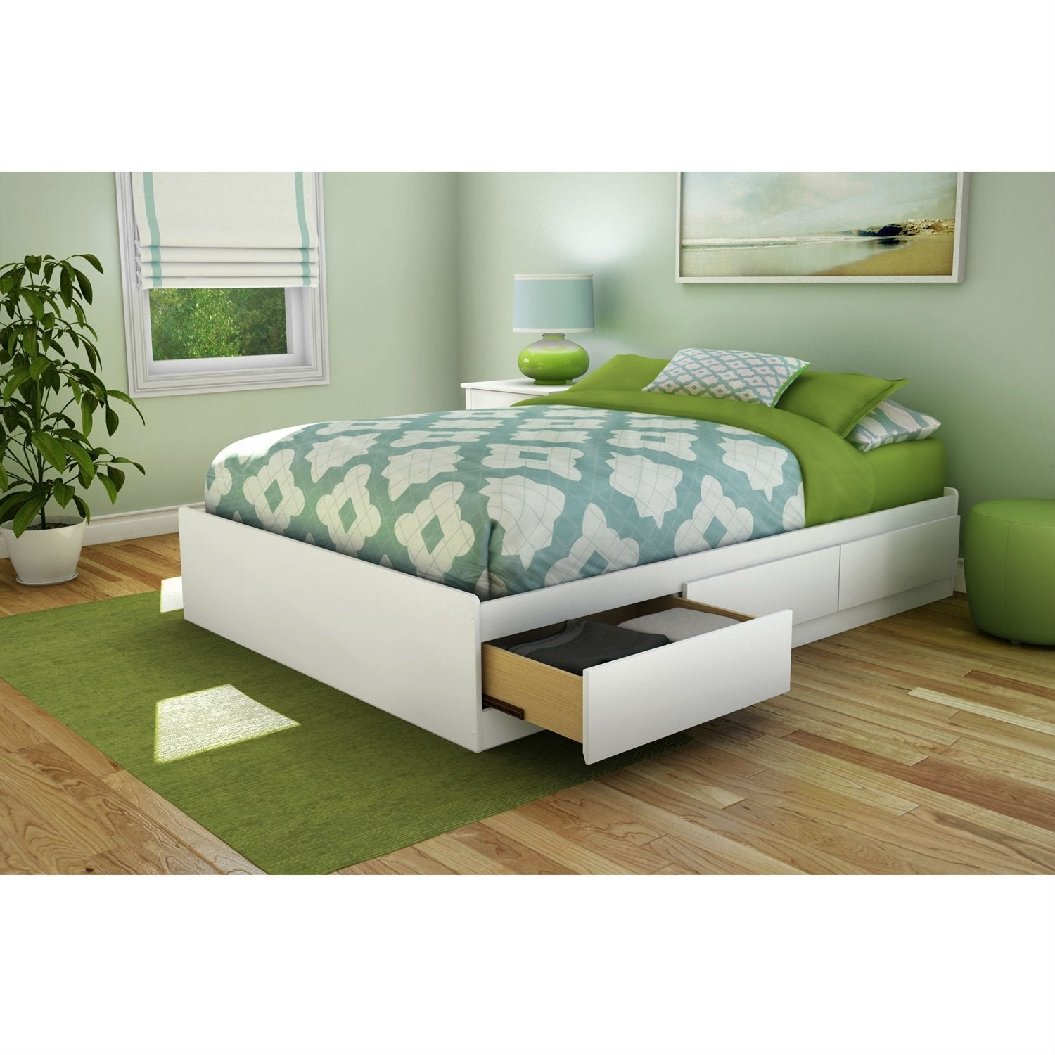 206fe46bfb4b Full size Contemporary Platform Bed with 3 Storage Drawers in White