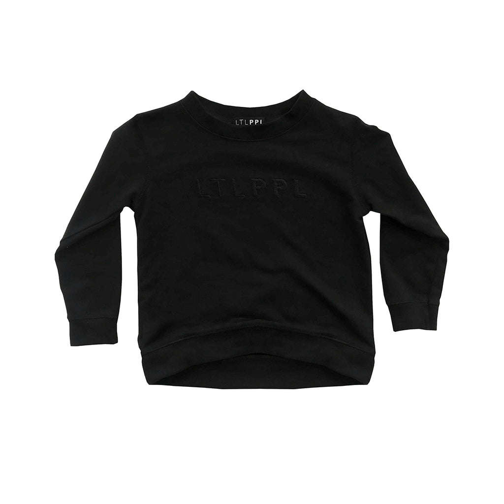 Organic cotton french terry black crew neck jumper for kids