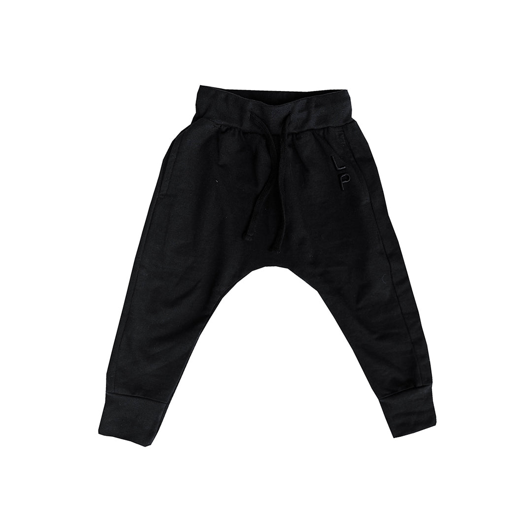 Organic cotton kids clothing black track pants