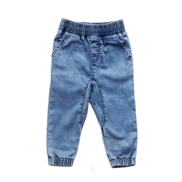 Blue drop crotch jeans