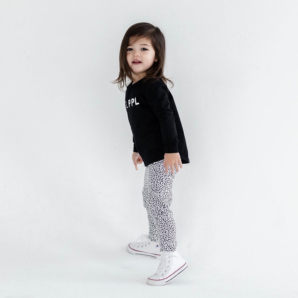 Organic cotton unisex kids black long sleeve tee