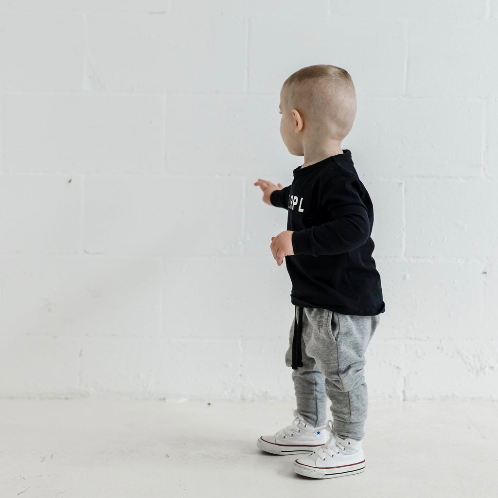 Organic cotton kids clothing grey track pants