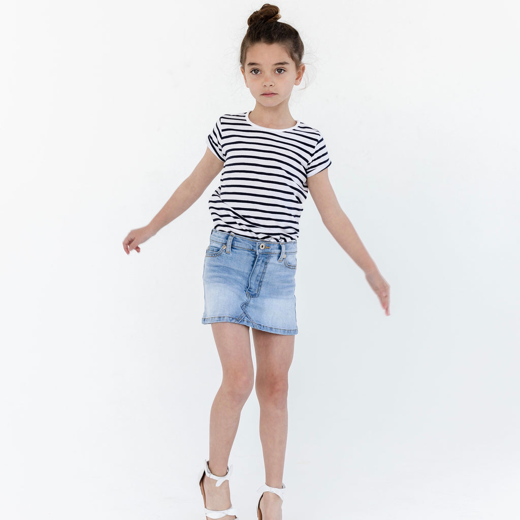 Girls blue denim skirt