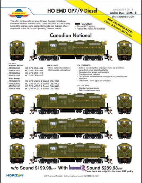 CN GP9's in Green and Gold from Athearn Genesis!  ETA 09/2019