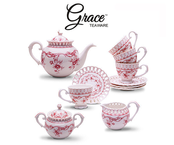 Win a Grace Teaware 11-Piece Porcelain Tea Set (Pink Vine), a $130 value!
