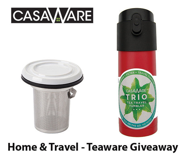 Win a casaWare Teaware, Home & Travel Set. (Tilt and Drip Tea Infuser and Red Trio 12oz/350ML Tea Travel Mug). $46 value