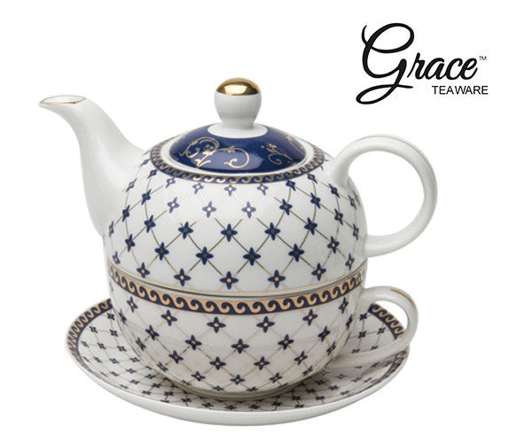 Congratulations: Melia K. OH - Winner of our Grace Teaware Porcelain 4-Piece Tea For One (Trellis Blue Gold Trimmed) Giveaway that ended 1-31-17.
