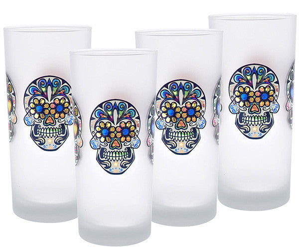 Win a Set of 4 Culver Sugar Skull Decorated Frosted Deluxe Cooler/Tumbler Glasses, 15-Ounce, a $39.99 value!