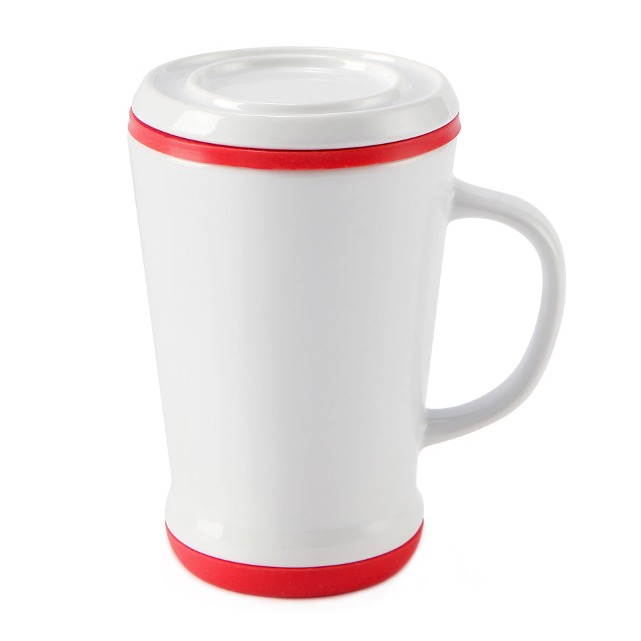 casaWare Tilt and Drip Tea Infuser Ceramic Mug, 14-Ounce (White with Red Currant) - LaPrima Shops ®