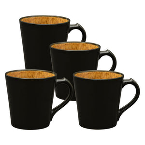 Culver VOG Ceramic Mug, 14-Ounce, Black Brown, Set of 4 - LaPrima Shops ®