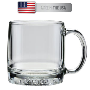 Culver Mug America Glass Mug, Made in the USA, Patriotic American Eagle Design, Set of 4 Mugs, 12oz - LaPrima Shops ®