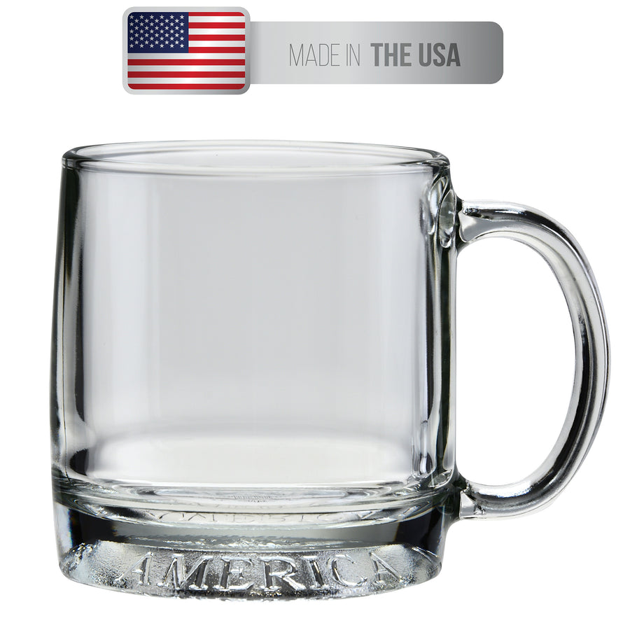 Culver Mug America Glass Mug, Made in the USA, Patriotic American Eagle Design, Single Mug, 12oz - LaPrima Shops ®