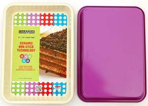 casaWare Ceramic Coated NonStick Cookie/Jelly Roll Pan (9 X 12.5-Inch, Cream/Purple) - LaPrima Shops ®