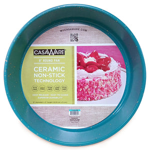 casaWare Ceramic Coated NonStick 9-Inch Round Pan, Blue Granite - LaPrima Shops ®