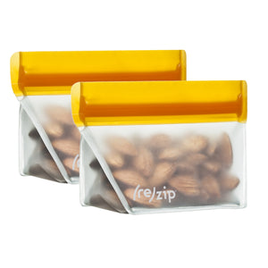 (re)zip Stand-Up 1/2 Cup/4-ounce Leakproof Reusable Storage Bag 2-Pack (Orange) - LaPrima Shops ®