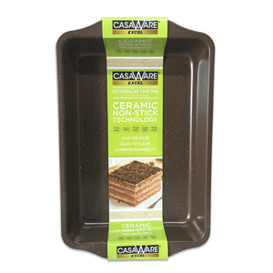 casaWare Excel 9 X 13 x 2-Inch Rectangular Cake Pan Ceramic Coated NonStick (Brown Granite) - LaPrima Shops ®