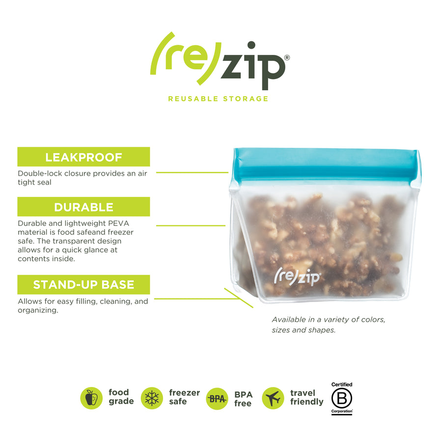 (re)zip Stand-Up 1-Cup/8-ounce Leakproof Reusable Storage Bag 2-Pack (Aqua) - LaPrima Shops ®