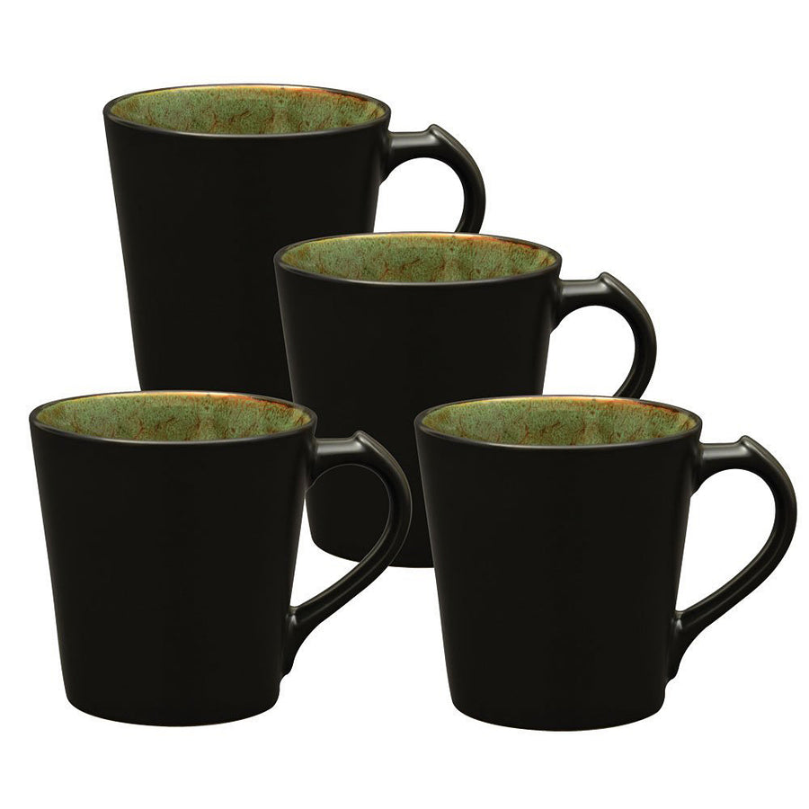 Culver VOG Ceramic Mug, 14-Ounce, Black Green, Set of 4 - LaPrima Shops ®