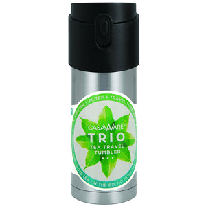 Casaware Trio Tea Infuser - Filter - Travel Tumbler with 2-way Leaf Compartment 12 Ounce (Stainless) - LaPrima Shops ®
