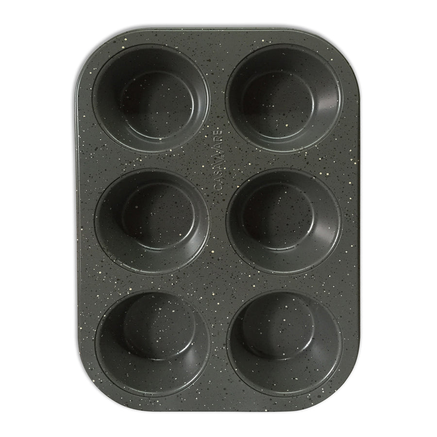casaWare Toaster Oven 6 Cup Muffin Pan NonStick Ceramic Coated (Silver Granite) - LaPrima Shops ®