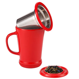 casaWare Tilt and Drip Tea Infuser Ceramic Mug, 14-Ounce (Red Currant) - LaPrima Shops ®