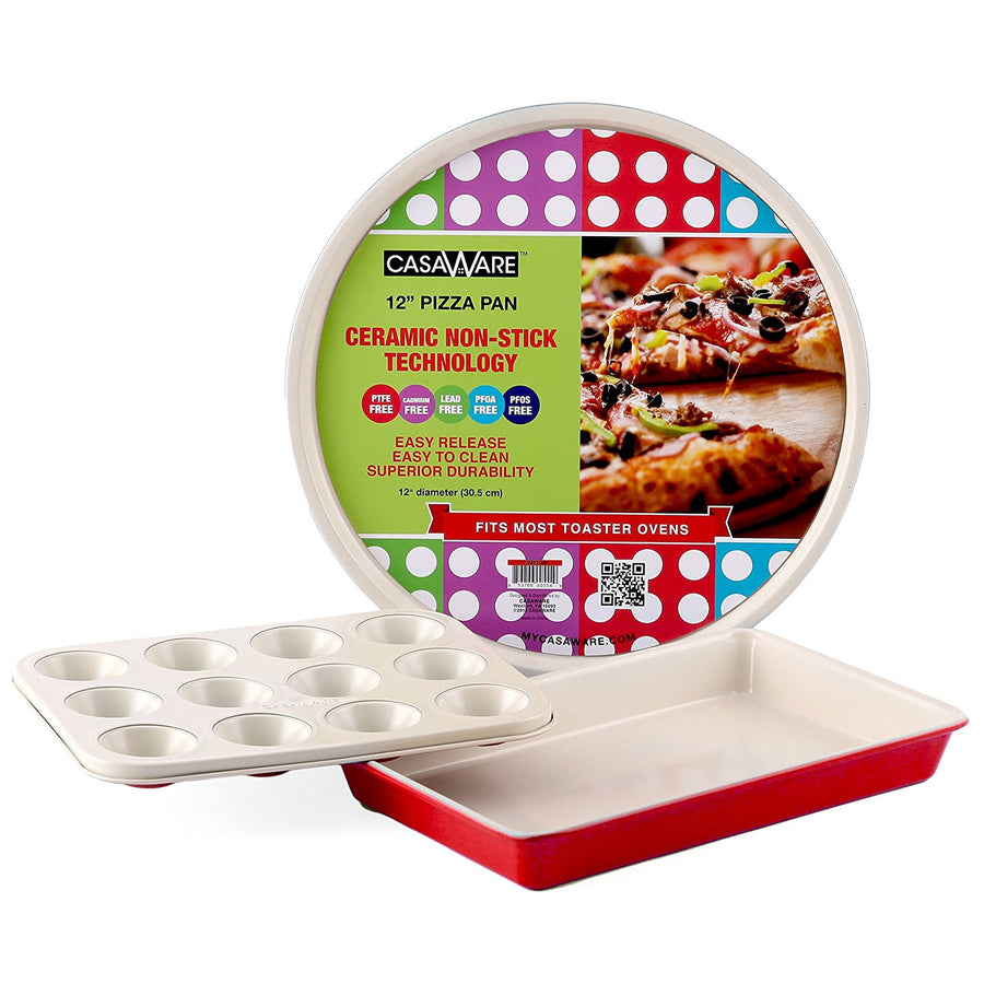casaWare Toaster Oven 3pc Set Ceramic Coated Non-Stick (Cream/Red) - LaPrima Shops ®