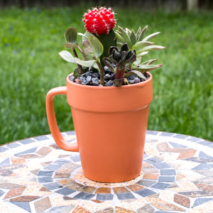 Culver 14-ounce Flower Pot Ceramic Mug, Set of 2 (Terra Cotta Color) - LaPrima Shops ®